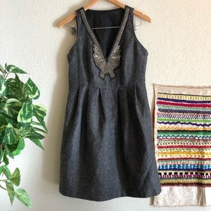 Anthro beaded tweed dress